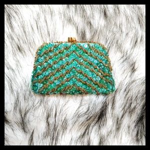 💐 Vtg. Beautiful DeLill Beaded Sequins Coin Purse
